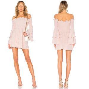 LPA smocked off shoulder dress blush bell sleeve